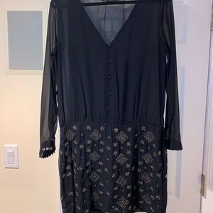 Dark Blue beaded Zara dress sheer large